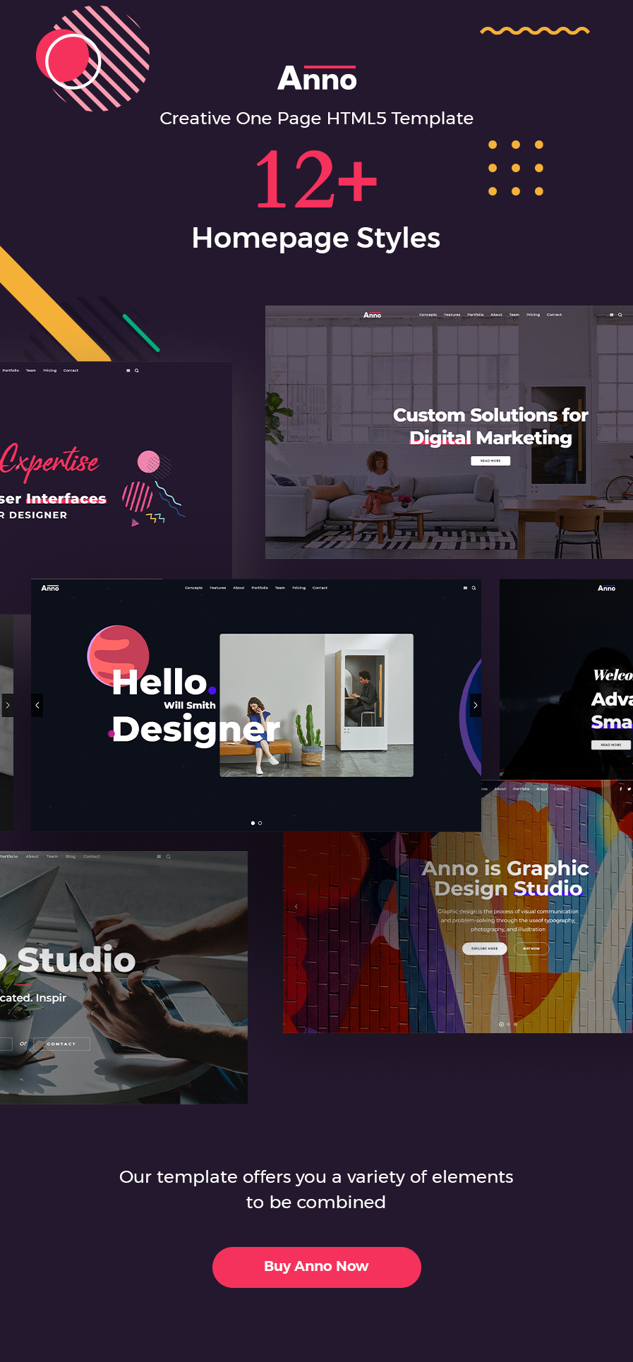 Anno - Creative Parallax One Page HTML Template - 1